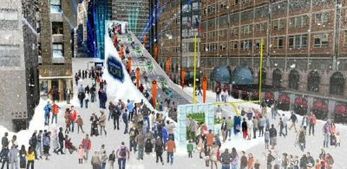 In this undated artist's rendering provided by the National Football League, a proposed toboggan slide is set up in New York. The slide will be part of a 14-block outdoor Super Bowl Boulevard running through Times Square along Broadway with attractions for football fans. The toboggan will operate with or without snow.
