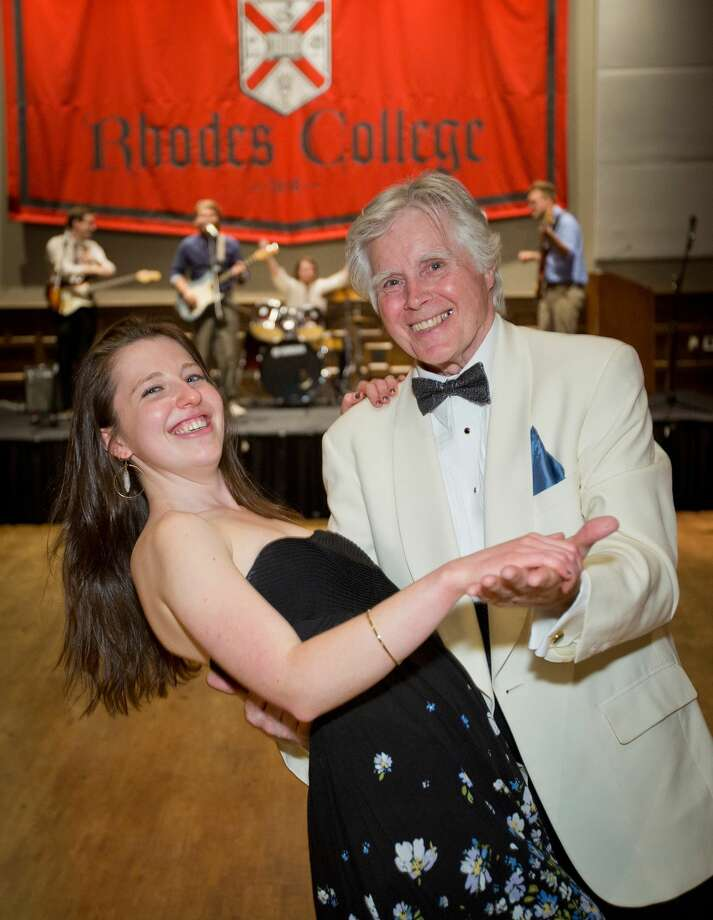 This April 7, 2015 photo shows Julia Hamilton dancing with Paul Rhodes at a prom that students held at Rhodes College in Memphis, Tenn. The college students invited members of a local senior citizens center to attend the prom, and they danced to everything from big band music to R&B. The idea grew out of a prom that another student had attended when he was in high school that included both teenagers and senior citizens. Itís one of a number of examples of students using proms as a vehicle for good deeds or to promote social change. (Justin Fox Burks/Rhodes College via AP) Photo: AP / Rhodes College