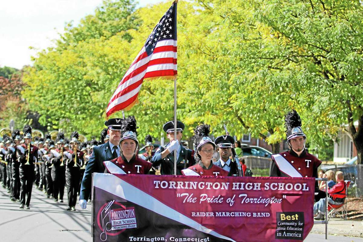 The Pride of Torrington prepares to step off at the Bristol Mum Parade on a beautiful fall Sunday afternoon.