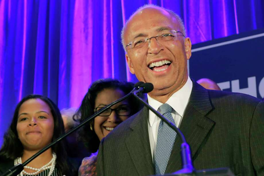 New York Democratic mayoral hopeful Bill Thompson speaks to his supporters after the polls closed, Tuesday, Sept. 10, 2013 in New York. Thompson and opponent Bill de Blasio are locked in a tight race in the Democratic primary. (AP Photo/Mark Lennihan) Photo: AP / AP