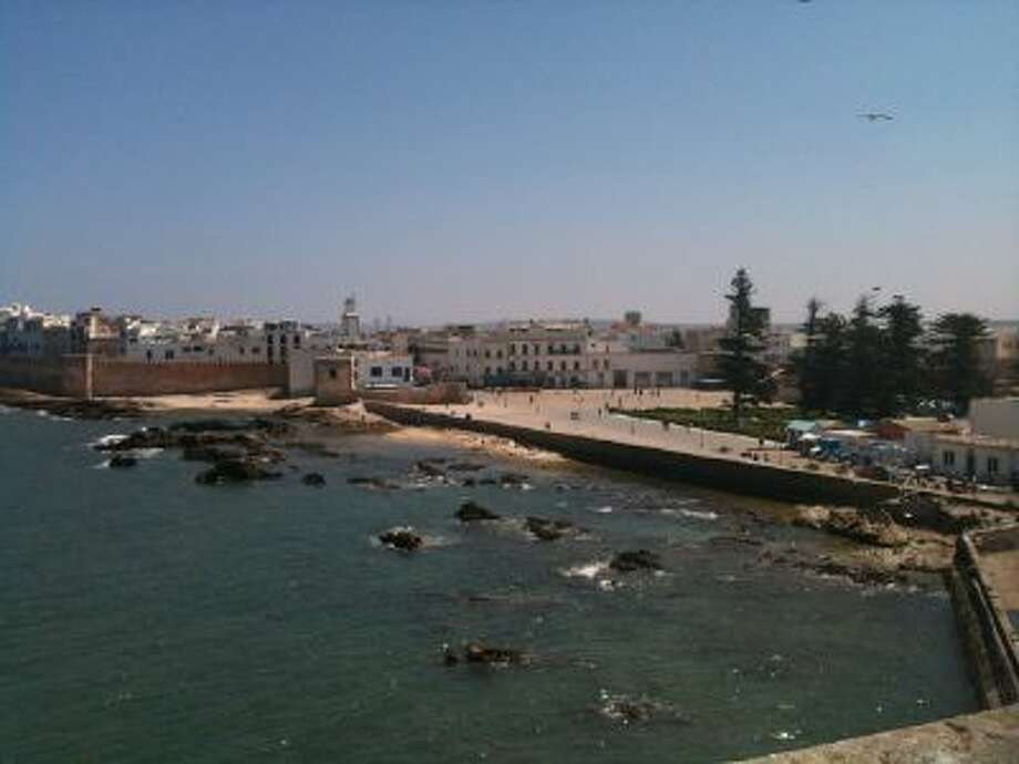 A view of Essaouira, Morocco from the top of the Port du Skala, a fortified city wall.