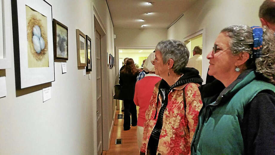 N.F. Ambery Visitors enjoy the reception Saturday at the Sharon Historical Society. Photo: Journal Register Co.