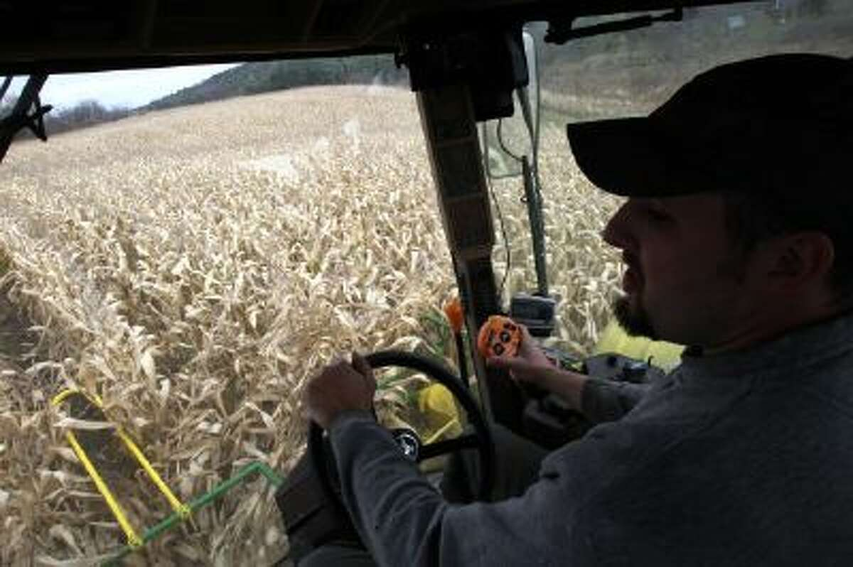In this Oct. 21, 2013 photo, Tony Pouliot harvests a corn field in Westford, Vt. Farmers can now use smart phones and computers to monitor and modify what nutrients they add to their soil, thanks to a new computer app created by a University of Vermont researcher.