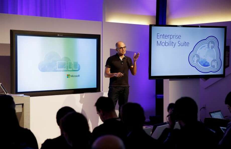 Microsoft CEO Satya Nadella talks about the intersection of cloud and mobile computing during a press briefing Thursday, March 27, 2014, in San Francisco. Microsoft unveiled Office for the iPad, a software suite that includes programs such as Word, Excel and PowerPoint, and works on rival Apple Inc.'s hugely popular tablet computer. (AP Photo/Eric Risberg) Photo: AP / AP