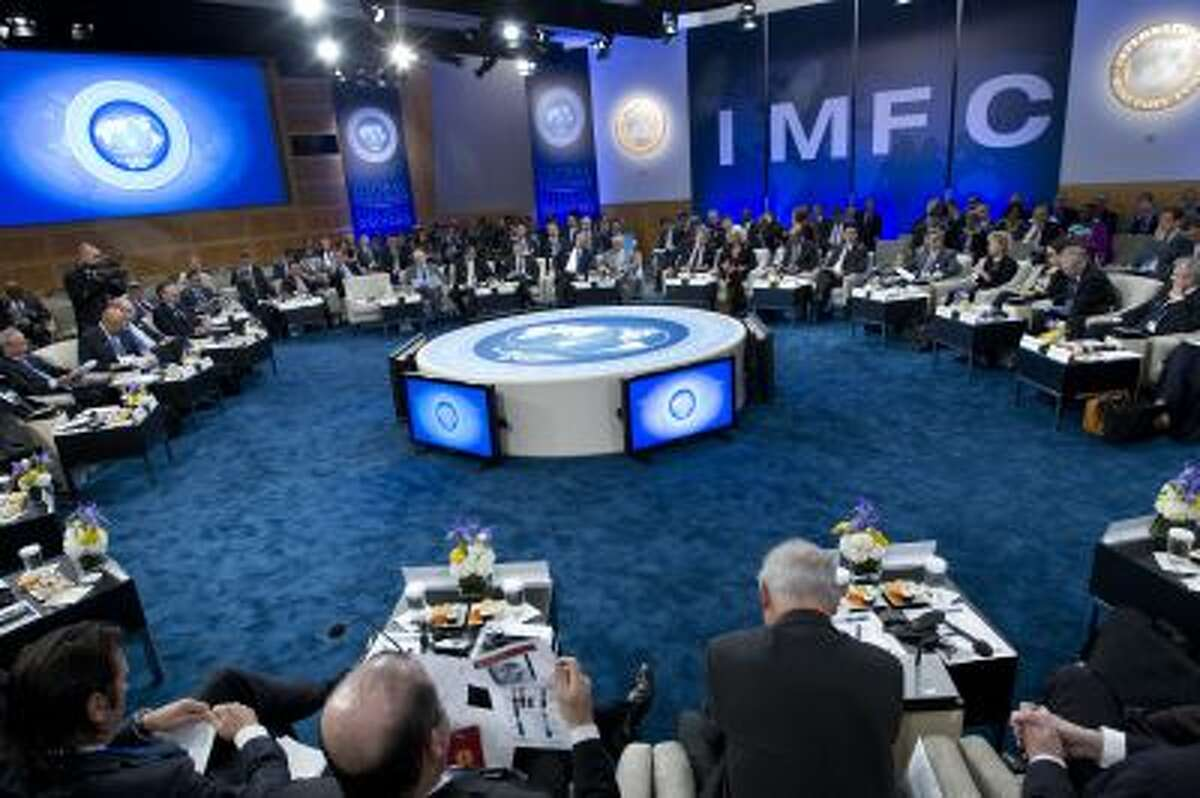 The IMFC meeting begins during the World Bank/IMF Annual Meetings at IMF headquarters, Saturday, Oct. 12, 2013, in Washington.