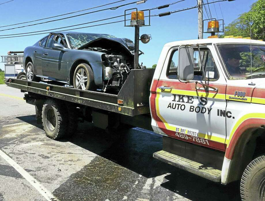 (Ben Lambert/The Register Citizen)Part of Route 4 in Goshen was shut down near the Torrington line early Friday after a two-car crash. Three helicopters were requested to the scene to help treat patients. Photo: Journal Register Co.