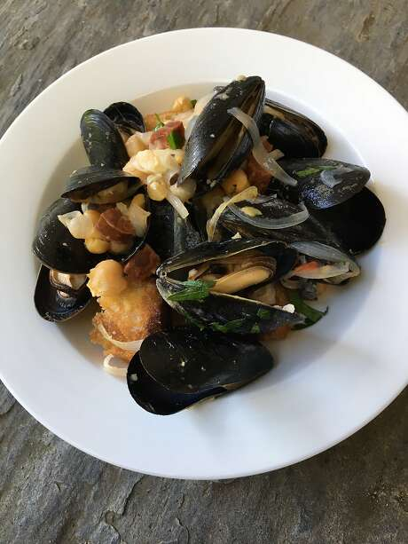Jessica Battilana's Mussels with Chorizo, Chickpeas and Fried Bread is seen on Sunday, July 30, 2017 in Woodstock, VT. Photo: Jessica Battilana, Special To The Chronicle