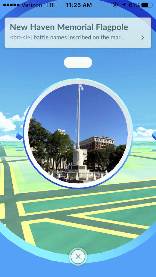 Screenshots from Pokemon Go game app show scenes from Downtown New Haven. Photo: Journal Register Co.