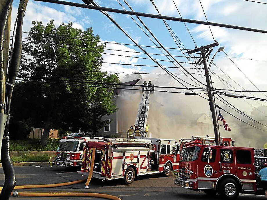Crews were on scene of a major fire Tuesday morning on North Main Street in Terryville. (Courtesy photo) Photo: Journal Register Co.