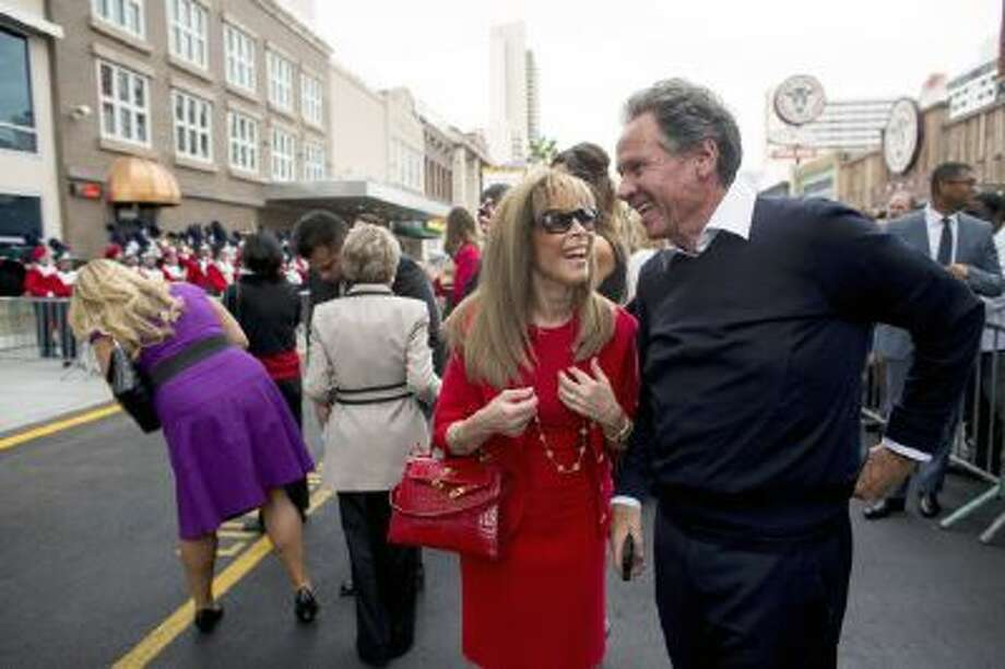Jane and Marc Schorr, parents of Downtown Grand Las Vegas CEO Seth Schorr, attend the ribbon-cutting ceremony of the Downtown Grand Las Vegas, located at 206 N. 3rd Street, Tuesday, Nov. 12, 2013.