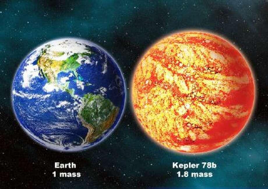 An artist's rendering shows a comparison between the Earth and planet Kepler 78b which is located in the Cygnus constellation hundreds of light-years away.