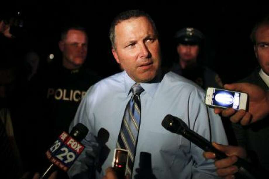 Pennsville Chief of Police Allen Cummings speaks to members of the media outside a home belonging to the father of the LAX shooting suspect Paul Ciancia in Pennsville N..J., on Friday Nov. 1, 2013.