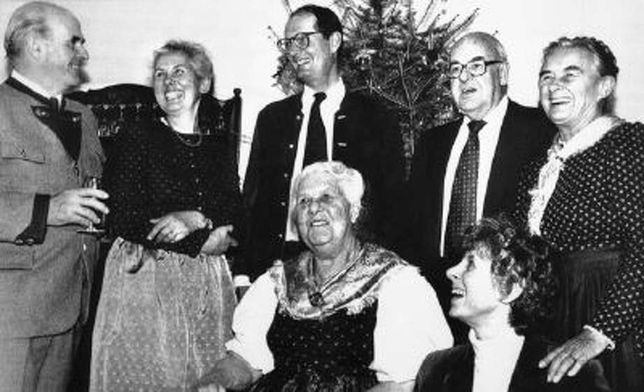 In this Jan. 19, 1984 photo, members of the Von Trapp family gathered at the new Trapp Family Lodge in Stowe, Vt., to celebrate the birthday of Maria Von Trapp, center.