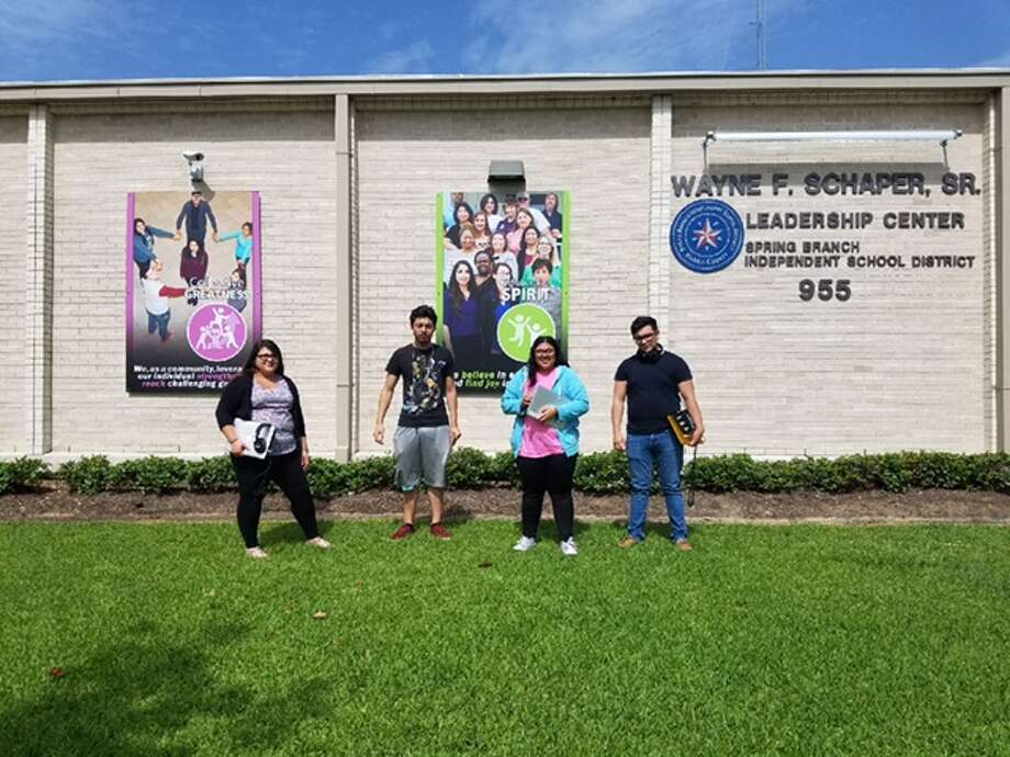 """Madeline Macias, from left, Vicente Segura, Liliana Rodriguez and Daniel Monroy produced podcasts called """"Audio Manifest"""" to introduce others to the people and places of their community. Photo: Photo Courtesy Of Diane Rios"""