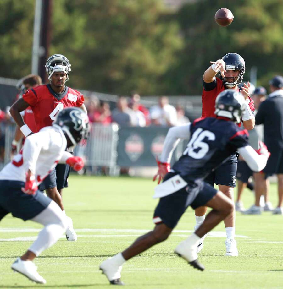Houston Texans quarterback Tom Savage (3) throws a pass to Houston Texans wide receiver Germone Hopper (16) during training camp at The Methodist Training Center on Monday, Aug. 21, 2017, in Houston. ( Brett Coomer / Houston Chronicle ) Photo: Brett Coomer, Staff / © 2017 Houston Chronicle}