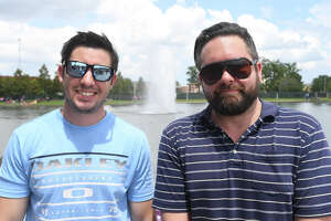 From left, Cory Thibodeaux and Josh Castillo at the solar eclipse watch party at the Beaumont Event Centre Monday. Photo taken Monday, August 21, 2017 Guiseppe Barranco/The Enterprise