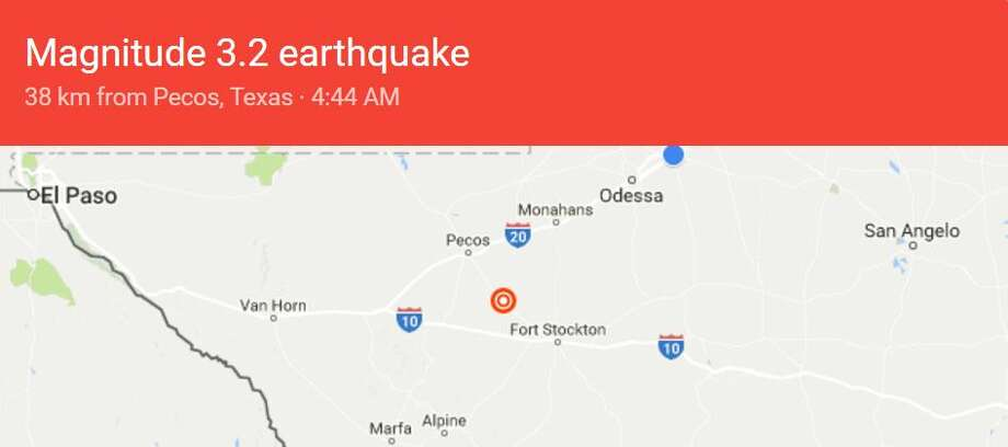 The U.S. Geological Survey recorded three earthquakes near Pecos in a 15-hour period on Sunday and Monday. Photo: Google