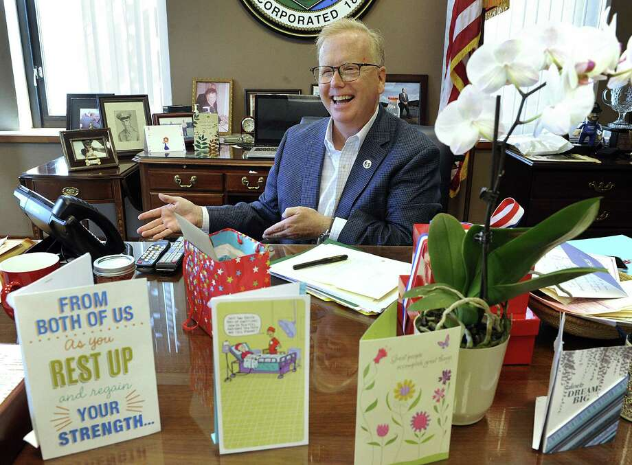 Mayor Mark Boughton returns to work at City Hall on Monday, after undergoing brain surgery. He arrives to find his office filled with cards and gifts. Photo: Carol Kaliff / Hearst Connecticut Media / The News-Times