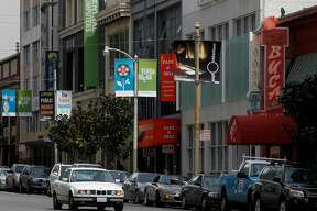 The 800 block of Howard Street is seen in San Francisco, Calif. on Wednesday, April 11, 2012, where a local cafe and deli, PG&E Energy Center and Buca di Beppo italian restaurant are neighboring businesses of The Green Door medicinal marijuana club.