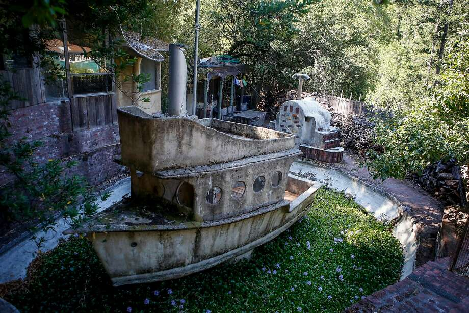 A replica of a ship sits in a hand-dug lake on David Lee Hoffman's property in Lagunitas. Photo: Nicole Boliaux, The Chronicle