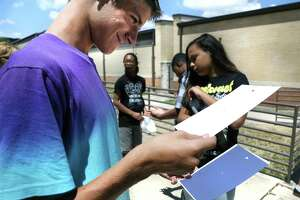 Landon Hall, left, a student at Virginia Allred Stacey Junior-Senior High School at Lackland AFB, uses pinhole camera to safely view the image of the 2017 solar eclipse.