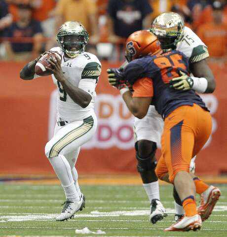 San Jose State's defensive line will likely have its hands full trying to contain South Florida quarterback Quinton Flowers. Photo: Nick Lisi, Associated Press