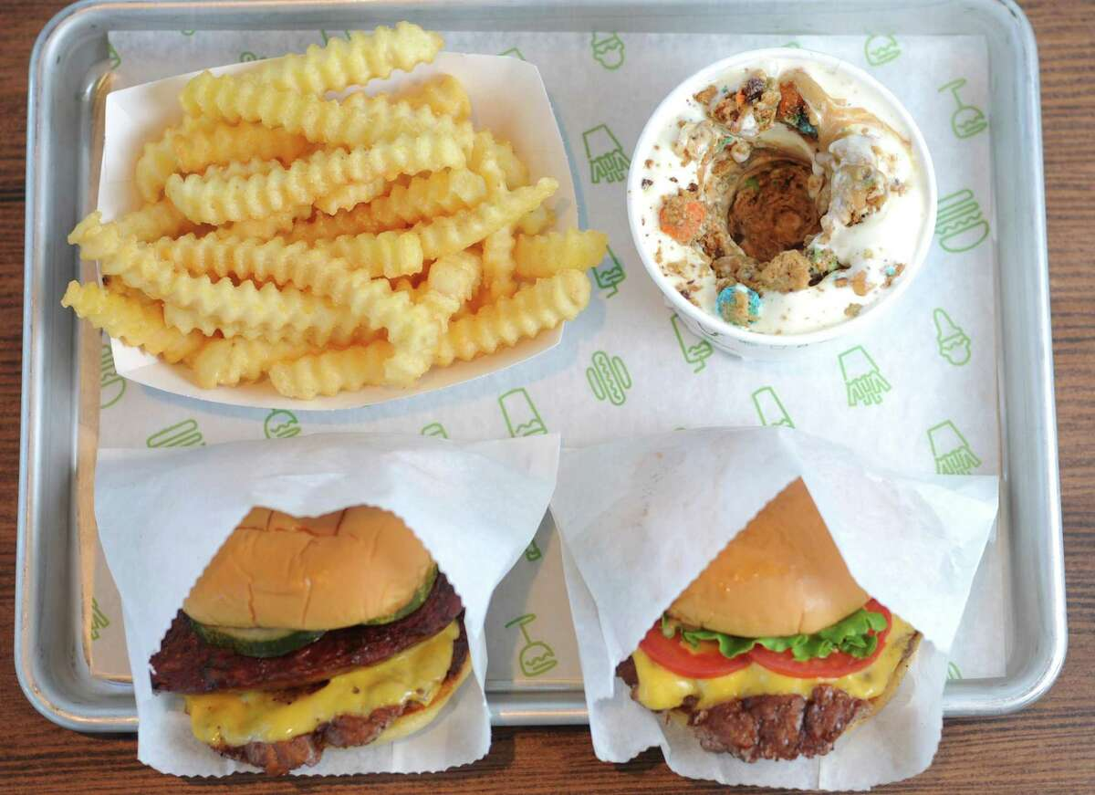 Burgers, fries and a concrete at Shake Shack, which opens 11 a.m. Aug. 23 at 7427 San Pedro Ave. in the Park North Shopping Center.