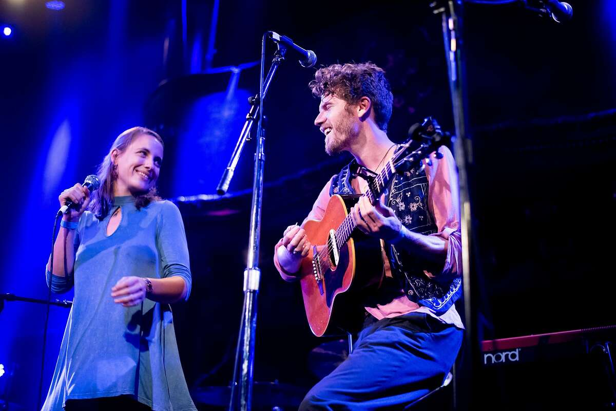 Scott Ferreter and Morgan Bolender, left, perform during You're Alive, an event organized by You're Going to Die, at the Great American Music Hall on Friday, Aug. 11, 2017, in San Francisco.