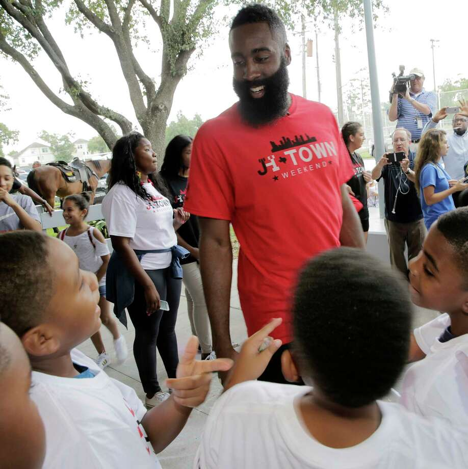 James Harden's summer activities in Houston included a visit to the Boys & Girls Club on Friday,  delivering backpacks and supplies to 150 children. Photo: Elizabeth Conley, Staff / © 2017 Houston Chronicle