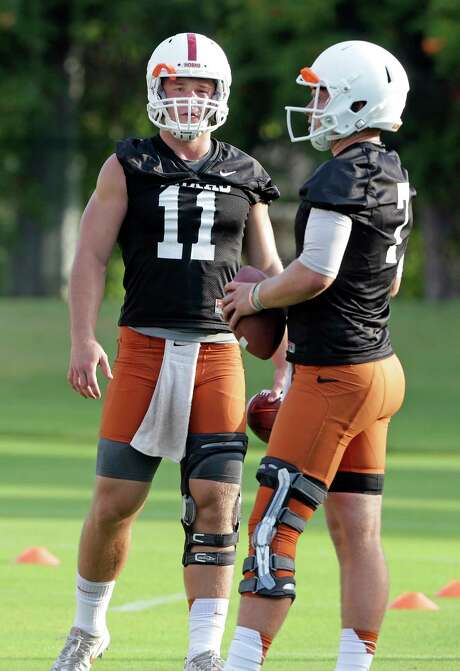 Sam Ehlinger (11) is pushing Shane Buechele for Texas' starting quarterback job even though Buechele has the edge in experience. Photo: Tom Reel, Staff / 2017 SAN ANTONIO EXPRESS-NEWS