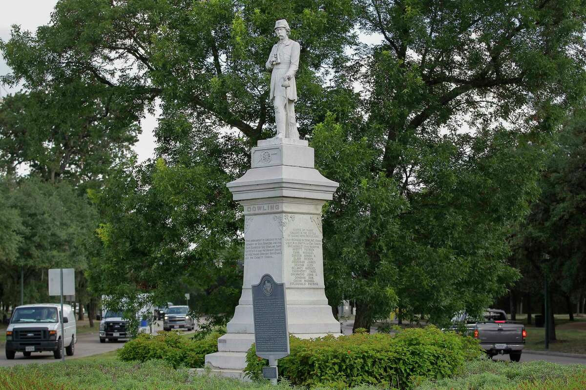 The statue of Confederate Lt. Dick Dowling was erected in 1905 to honor rebel soldiers who died at the Battle of Sabine Pass. A street named for him was changed in 2017.