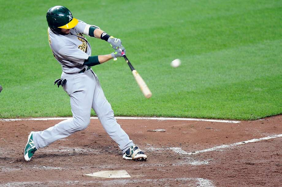 A's second baseman Jed hits a home run in the sixth inning against Baltimore at Oriole Park at Camden Yards. His 11 homers this season are his most since 2013, when he hit 15 with Oakland. Photo: Greg Fiume, Getty Images