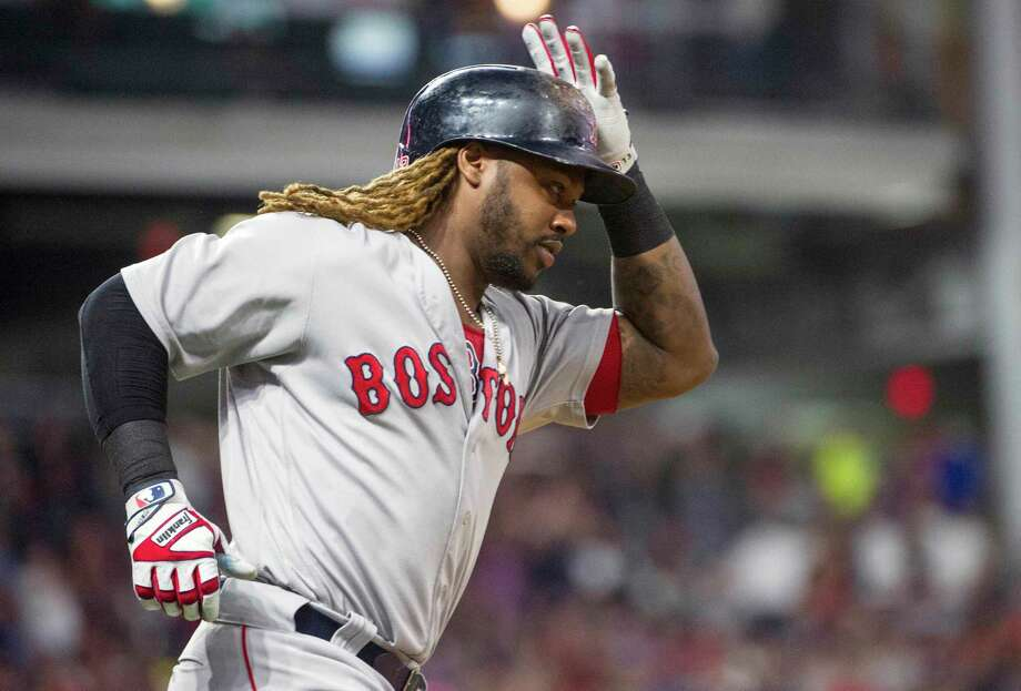 Boston Red Sox' Hanley Ramirez rounds first base after hitting a two-run home run off Cleveland Indians starting pitcher Mike Clevinger during the fifth inning of a baseball game in Cleveland, Monday Aug. 21, 2017. (AP Photo/Phil Long) ORG XMIT: OHPL110 Photo: Phil Long / FR53611 AP