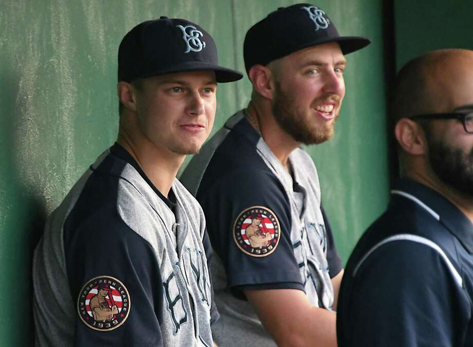 Brooklyn Cyclones player Matt Winaker, left, sits in the dugout during a baseball game against the Tri-City ValleyCats at Joe Bruno Stadium on Troy Aug. 21, 2017 in Colonie, N.Y. (Lori Van Buren / Times Union) Photo: Lori Van Buren / 20040939A