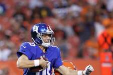 CLEVELAND, OH - AUGUST 21: Eli Manning #10 of the New York Giants gets sacked by Joe Schobert #53 of the Cleveland Browns in the first half of a preseason game at FirstEnergy Stadium on August 21, 2017 in Cleveland, Ohio. (Photo by Joe Robbins/Getty Images) ORG XMIT: 700069911