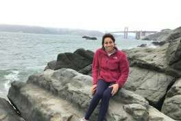 At Baker Beach, with the Golden Gate Bridge behind me