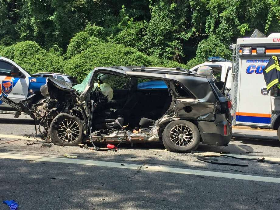 New York police have identified the woman killed in an early Sunday morning crash on the Hutchinson River Parkway as a 56-year-old Beacon Falls resident. Police say Damita Mathis, of Beacon Falls, was driving the wrong way when her 2014 Kia Sorento slammed into another vehicle in Scarsdale, N.Y. at around 4:30 a.m. Sunday. Police say she was traveling southbound in the northbound lane. Photo: Westchester County Police Photo