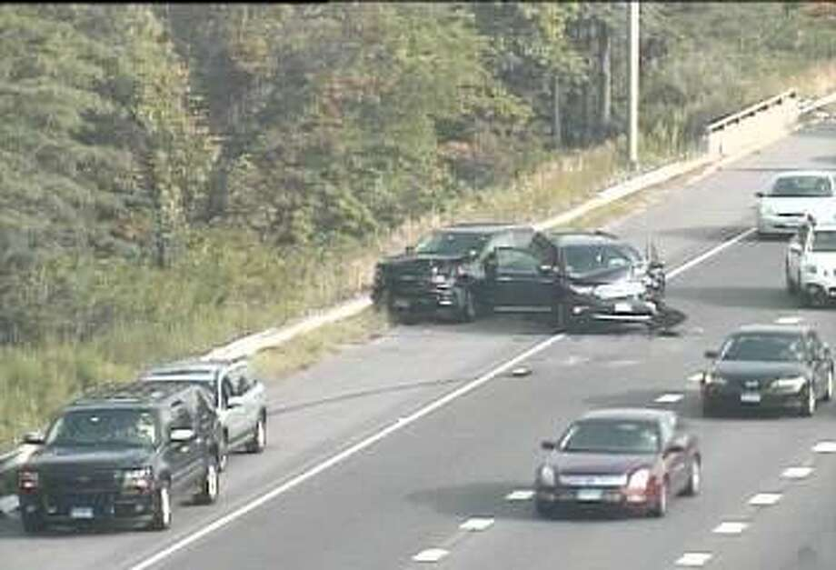 A three-vehicle accident has closed a southbound lane on Route 7 in Norwalk on Tuesday, Aug. 22, 2017. The crash that was reported shortly after 8 a.m., has closed the lane between Exits 2 and 1. Photo: /