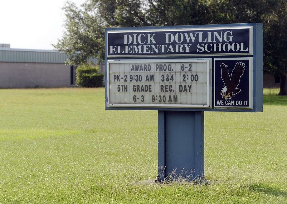Pictured is a sign outside Dick Dowling Elementary School on Monday. A group in Port Arthur is attempting to start a discussion about the names of Robert E. Lee Elementary and Dick Dowling Elementary, both of which are named for prominent Confederate military leaders.