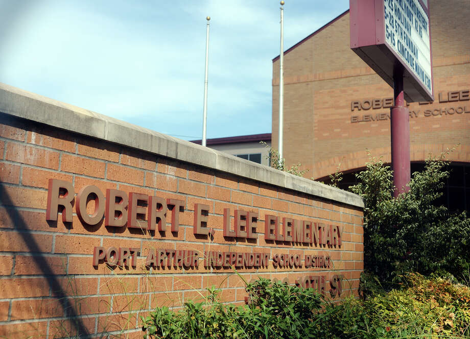 Pictured is the facade of Robert E. Lee Elementary in Port Arthur. A group in Port Arthur is attempting to start a discussion about the names of Robert E. Lee Elementary and Dick Dowling Elementary, both of which are named for prominent Confederate military leaders. Photo taken Monday 7/27/15 Jake Daniels/The Enterprise Photo: Jake Daniels / ©2015 The Beaumont Enterprise/Jake Daniels