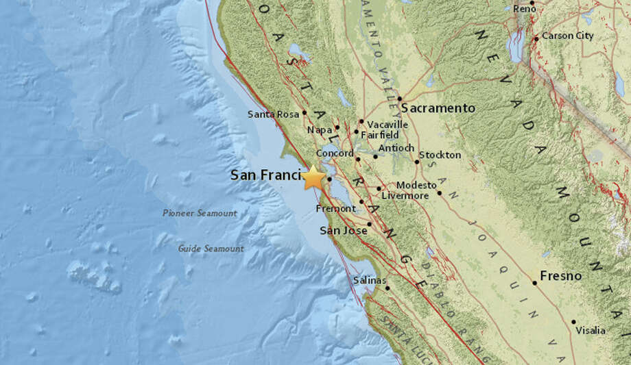 A magnitude 3.2 quake struck off the San Francisco at 5:36 AM on August 22, 2017. The quake was centered 5 miles southwest of Muir Beach and 6.8 miles northwest from the San Francisco zoo. Photo: USGS