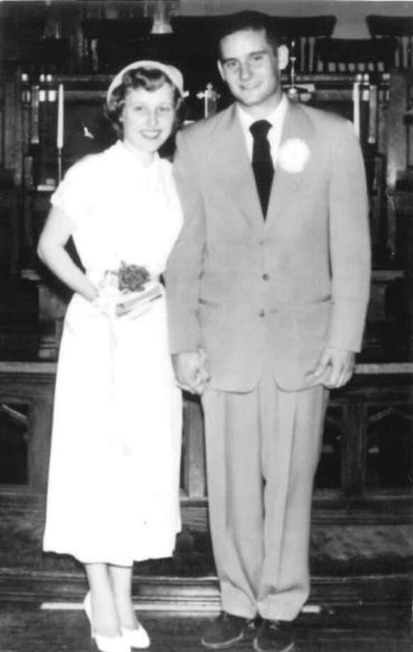 Pictured is Norma and Loren Klaus at their wedding on Aug. 17, 1952. Photo: For The Intelligencer