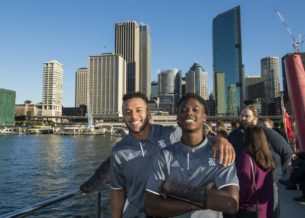 The Rice football team was treated to a dinner cruise in the Sydney Harbour. The