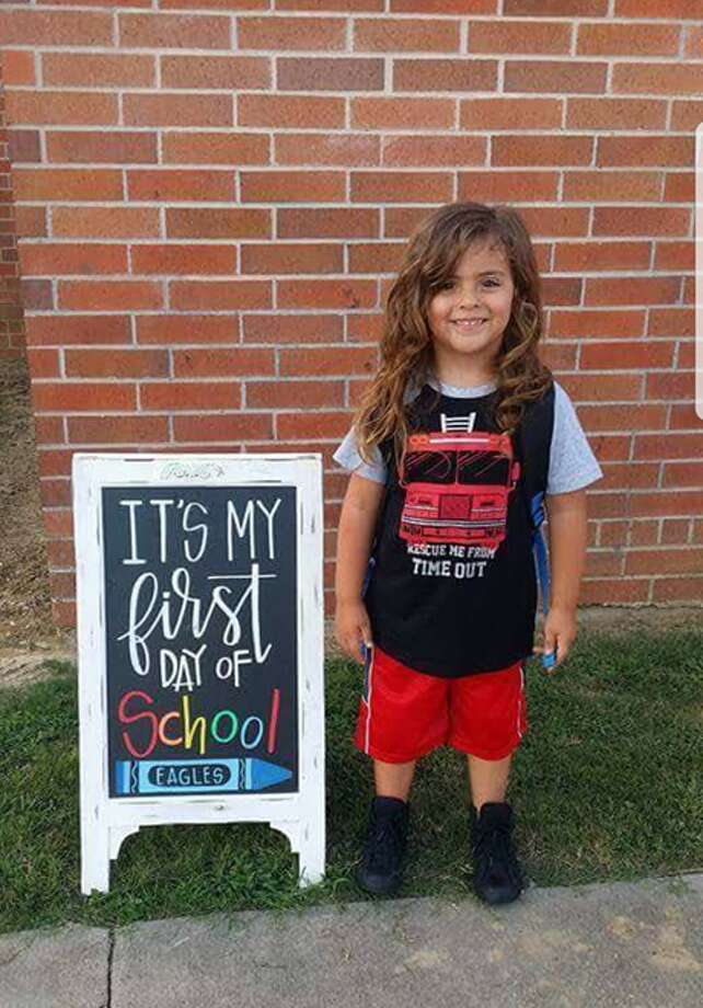 Jabez Oates, 4, has been told by his kindergarten school in Barber's Hill Independent School District that he cannot return unless he cuts his long hair. Photo: Jessica Oates