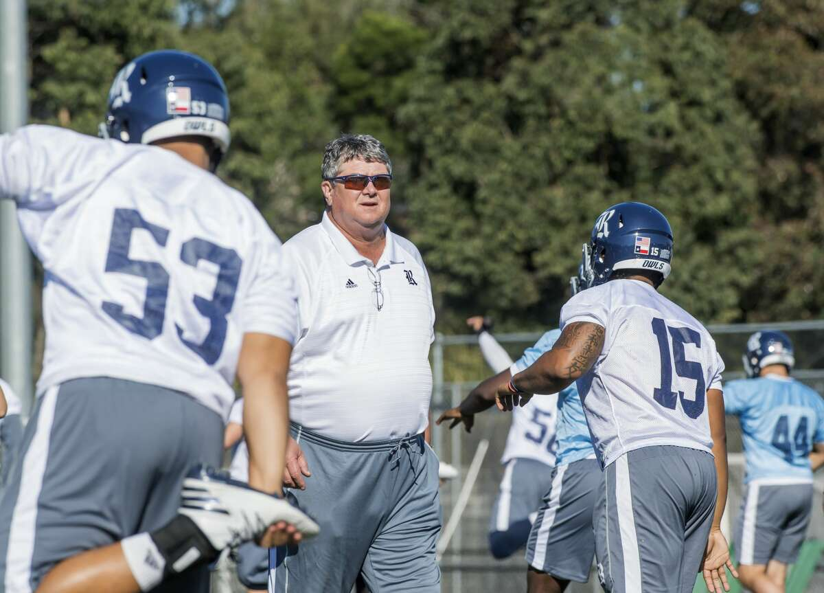 Rice coach David Bailiff watches his players get loose during the Owls' first practice in Sydney, Australia on Tuesday. Rice plays Stanford in Sydney on Saturday, Aug. 26, 2017.