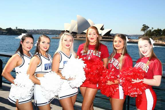 SYDNEY, AUSTRALIA - AUGUST 22:  The Rice Owls and Stanford Cardinal cheergirls pose during the 2017 US College Football Sydney Cup Launch at the Sydney overseas passenger terminal on August 22, 2017 in Sydney, Australia.  (Photo by Mark Kolbe/Getty Images)
