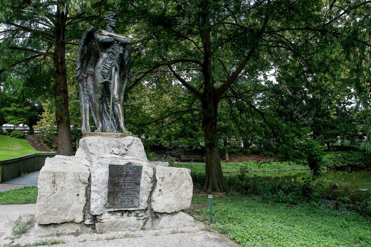 The Spirit of Confederacy statue stands in Sam Houston Park.