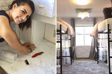 Sheila Ybarra spent 20 hours working with a team of six people to transform a nearly 50-year-old drab dorm into a stylish space for her daughter, Skylar Bantz, to live during her first year away from home.