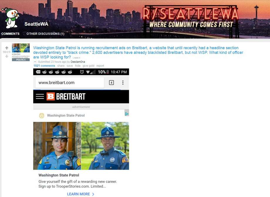 A Reddit post appears to show an ad for Washington State Patrol appearing on the ultra-conservative Breitbart News. Photo: Screenshot/Reddit