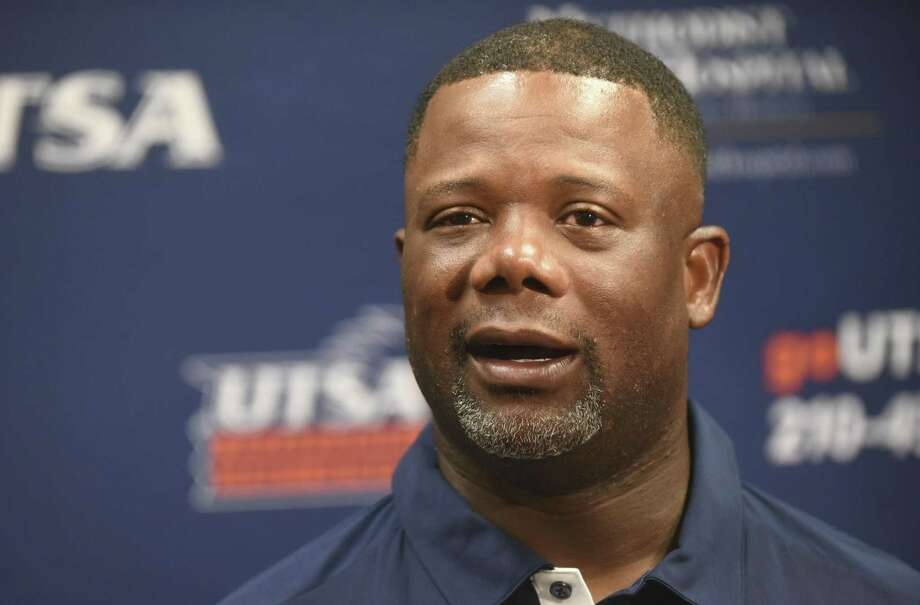 UTSA coach Frank Wilson speaks during football media day at the H-E-B University Center on Aug. 12, 2017. Photo: Billy Calzada /San Antonio Express-News / San Antonio Express-News